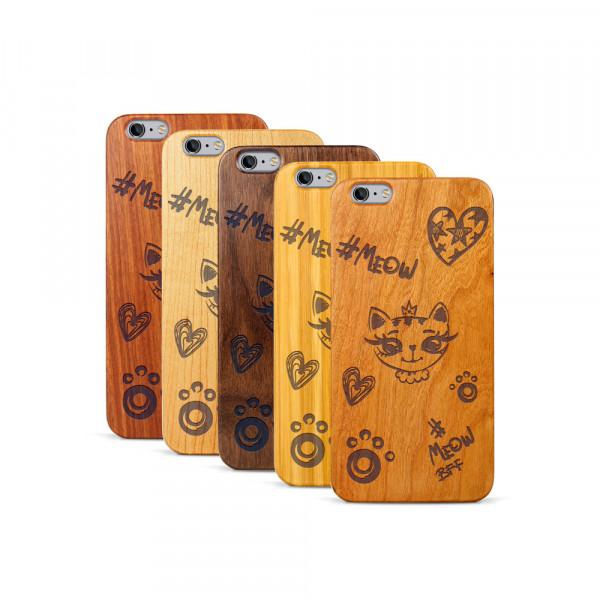 iPhone 6 & 6S Plus Hülle Cat Meow aus Holz