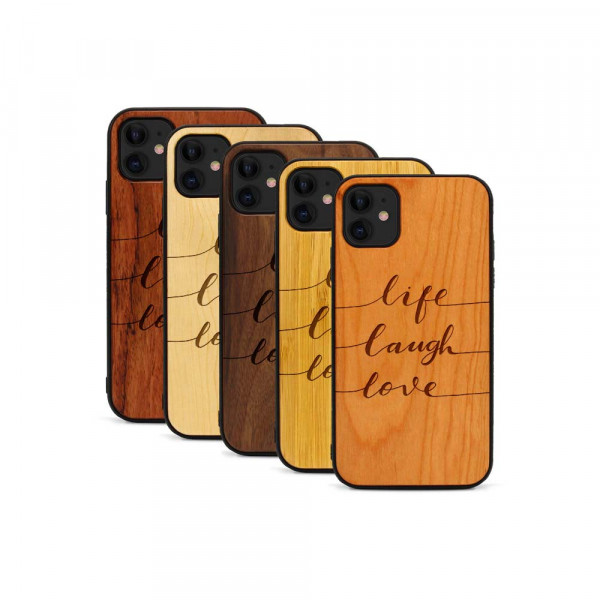 iPhone 11 Hülle Life Laugh Love aus Holz