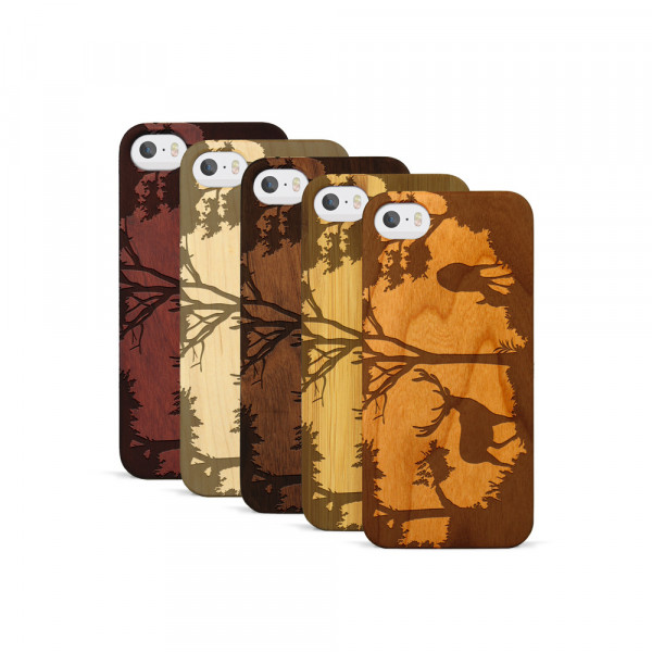 iPhone 5, 5S & SE Hülle Wildlife Hirsch aus Holz