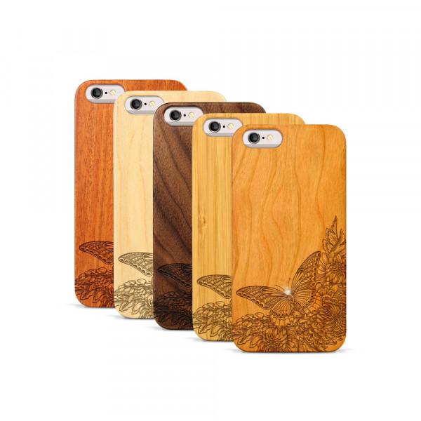 iPhone 6 & 6S Hülle Schmetterling Swarovski® Kristalle aus Holz