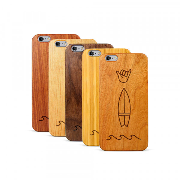 iPhone 6 & 6S Plus Hülle Surf Icons aus Holz