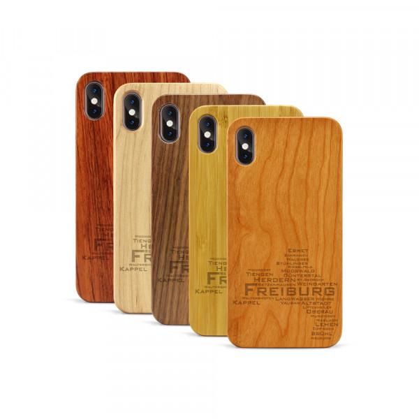 iPhone XS Max Hülle Freiburg Stadtteile aus Holz
