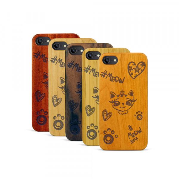 iPhone 7 Hülle Cat Meow aus Holz
