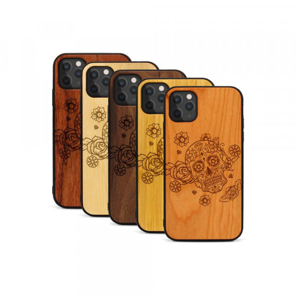 iPhone 11 Pro Max Hülle Flower Totem aus Holz