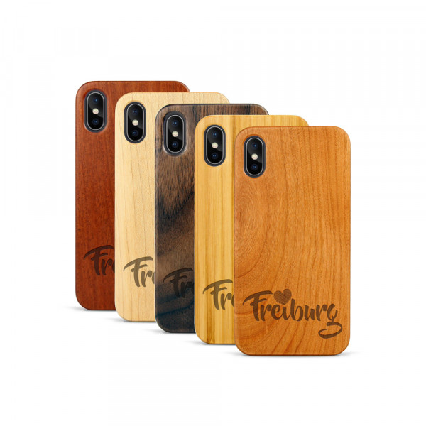 iPhone X & Xs Hülle Love Freiburg aus Holz