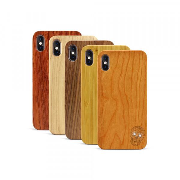 iPhone XS Max Hülle Totenkopf Swarovski® Kristalle aus Holz