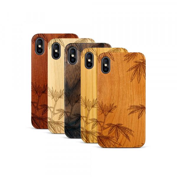 iPhone X & Xs Hülle Hanfpflanze aus Holz