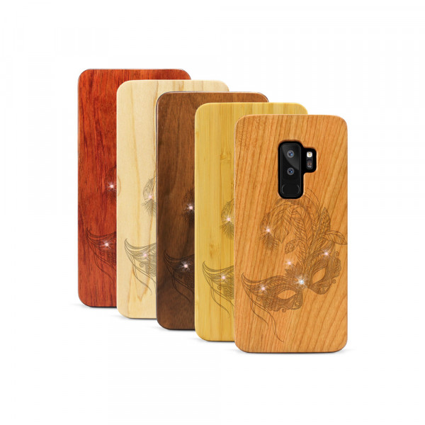 Galaxy S9+ Hülle Maskenball Swarovski® Kristalle aus Holz