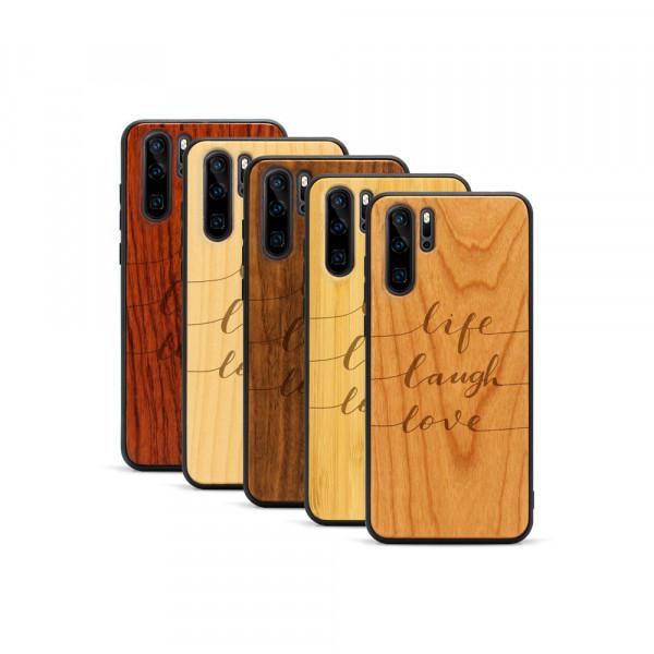 P30 Pro Hülle Life Laugh Love aus Holz