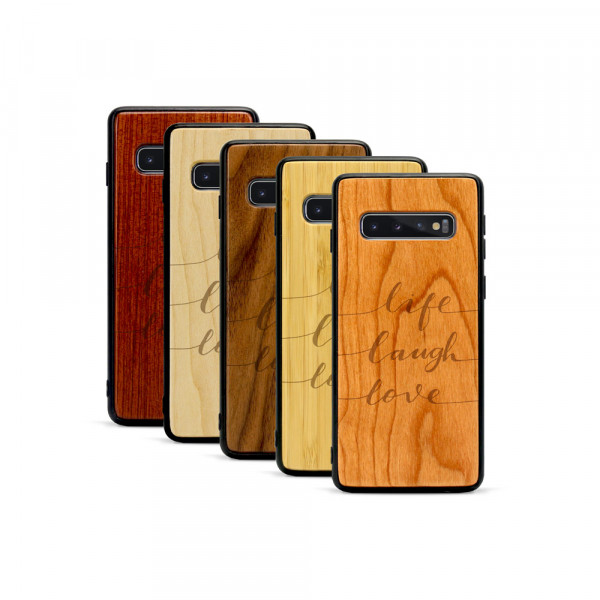 Galaxy S10 Hülle Life Laugh Love aus Holz
