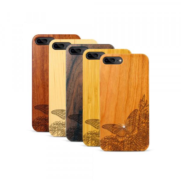 iPhone 7 & 8 Plus Hülle Schmetterling Swarovski® Kristalle aus Holz