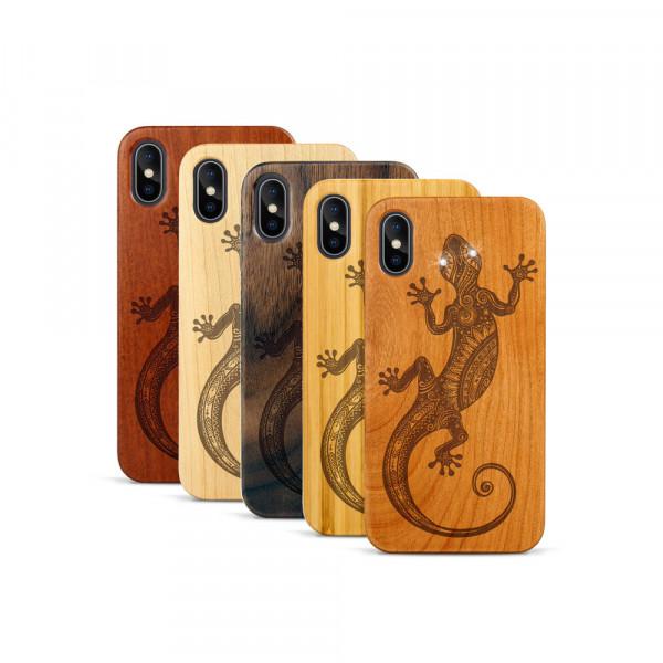 iPhone X & Xs Hülle Gecko Swarovski® Kristalle aus Holz