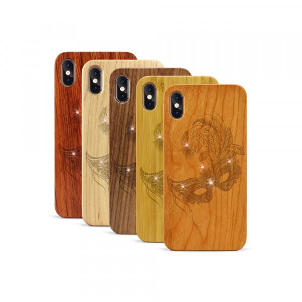 iPhone XS Max Hülle Maskenball Swarovski® Kristalle aus Holz