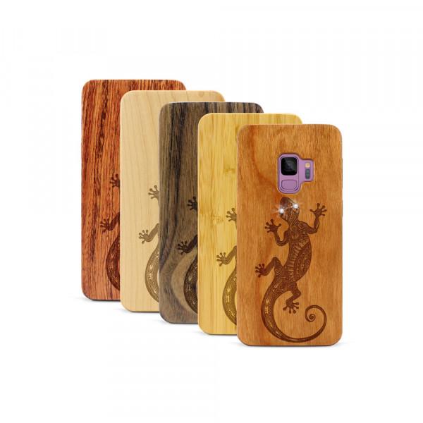 Galaxy S9 Hülle Gecko Swarovski® Kristalle aus Holz