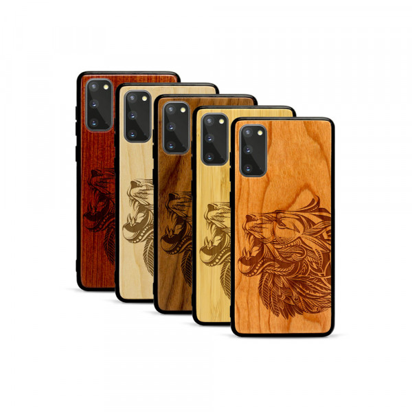 Galaxy S20 Hülle Löwenkopf aus Holz