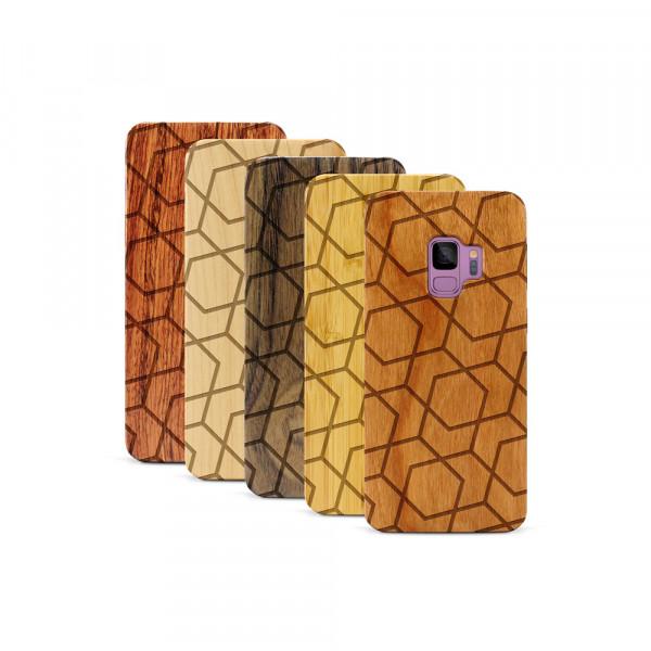 Galaxy S9 Hülle Big Pattern aus Holz