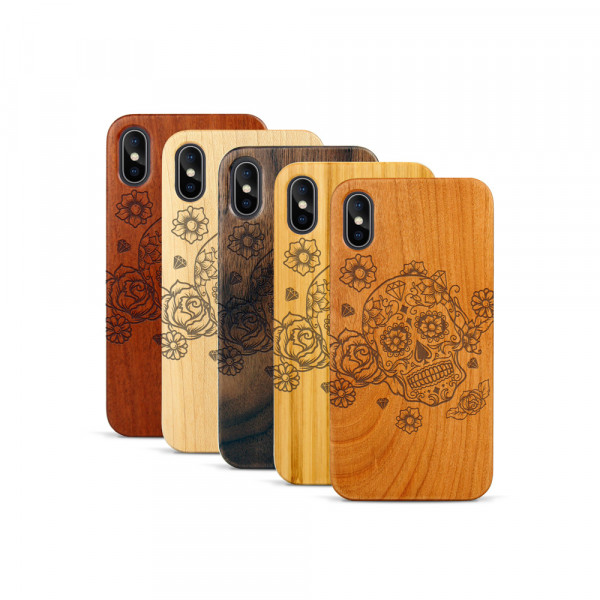 iPhone X & Xs Hülle Flower Totem aus Holz