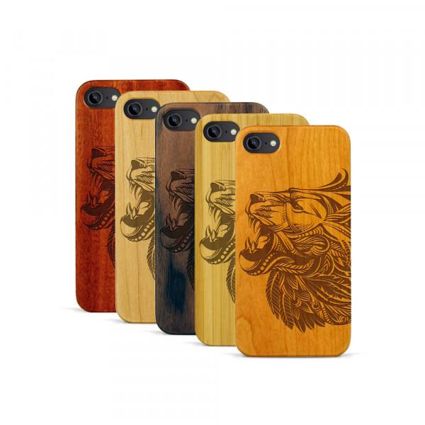 iPhone 7 Hülle Löwenkopf aus Holz