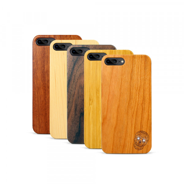 iPhone 7 & 8 Plus Hülle Totenkopf Swarovski® Kristalle aus Holz