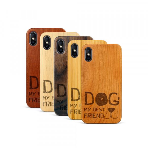 iPhone X & Xs Hülle Dog best friend aus Holz