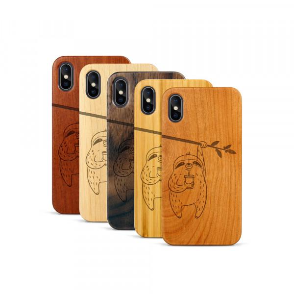 iPhone X & Xs Hülle Faultier aus Holz