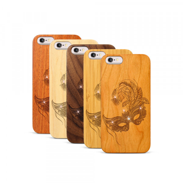 iPhone 6 & 6S Hülle Maskenball Swarovski® Kristalle aus Holz