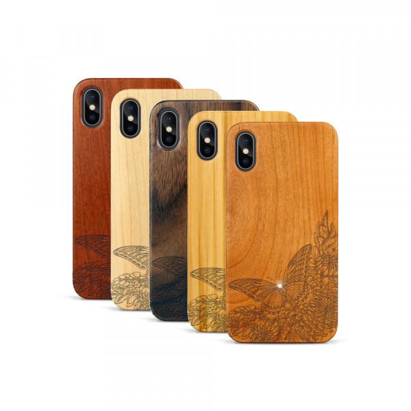 iPhone X & Xs Hülle Schmetterling Swarovski® Kristalle aus Holz