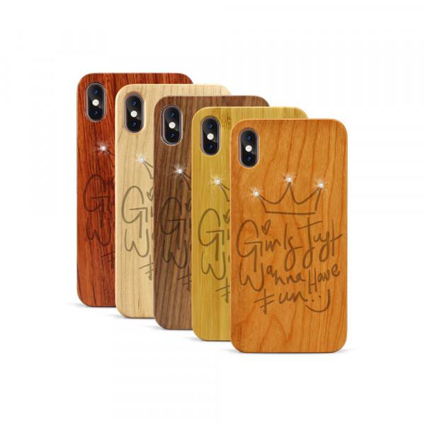 iPhone XS Max Hülle Girls wanna have fun Swarovski® Kristalle aus Holz