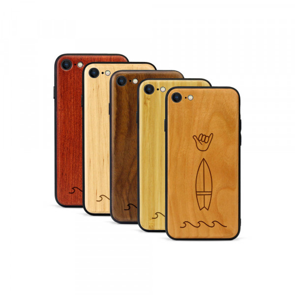 iPhone 8 & SE Hülle Surf Icons aus Holz