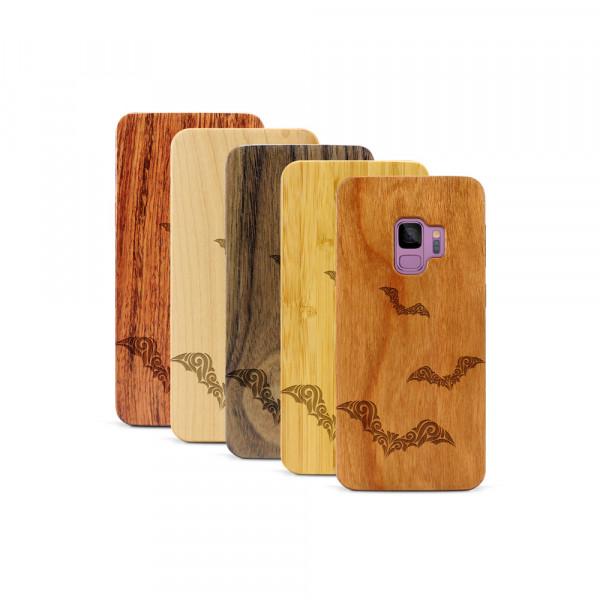 Galaxy S9 Hülle Fledermaus Ornamente aus Holz