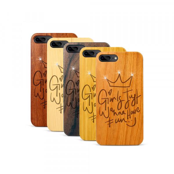 iPhone 7 & 8 Plus Hülle Girls wanna have fun Swarovski® Kristalle aus Holz