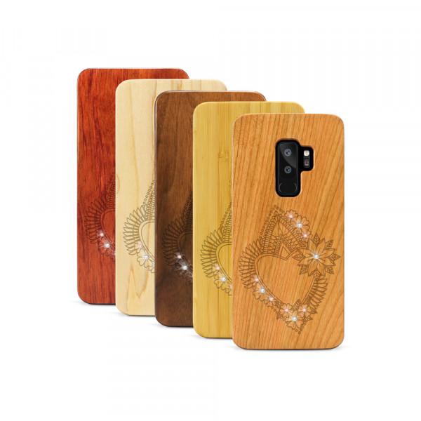 Galaxy S9+ Hülle Herzblume Swarovski® Kristalle aus Holz
