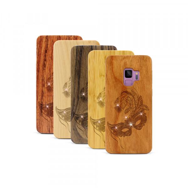 Galaxy S9 Hülle Maskenball Swarovski® Kristalle aus Holz