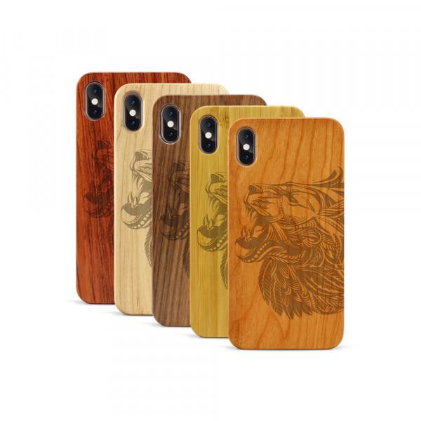 iPhone XS Max Hülle Löwenkopf aus Holz