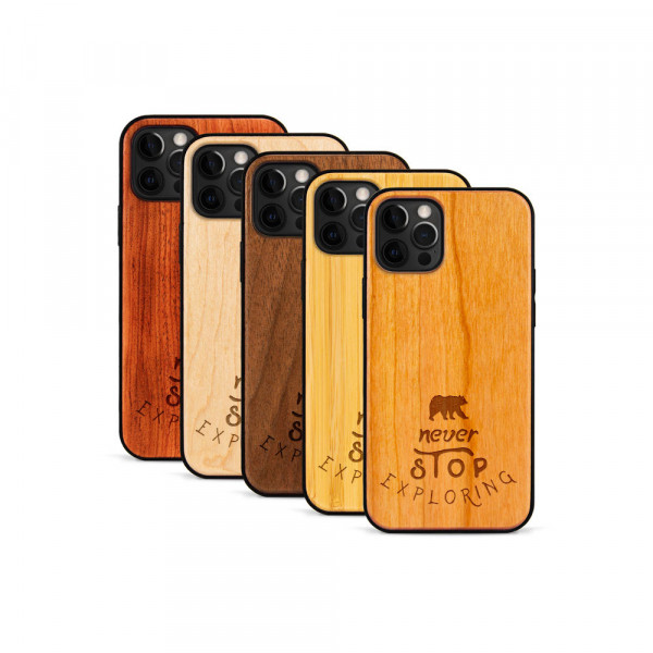 iPhone 12 Pro Max Hülle Never Stop Exploring aus Holz