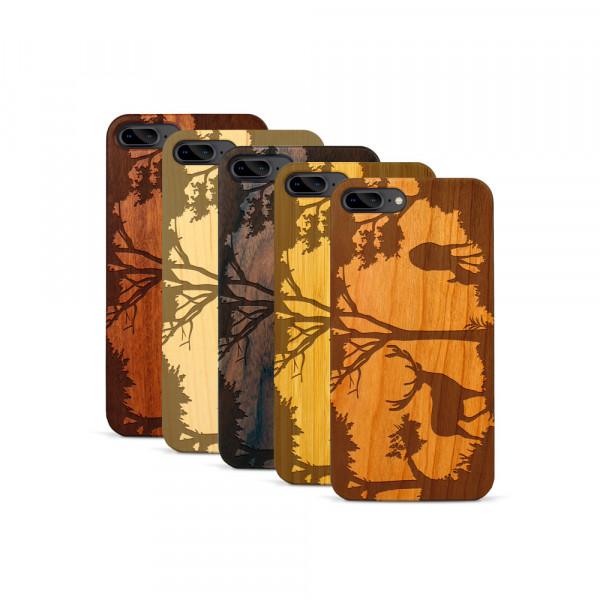 iPhone 7 & 8 Plus Hülle Wildlife Hirsch aus Holz