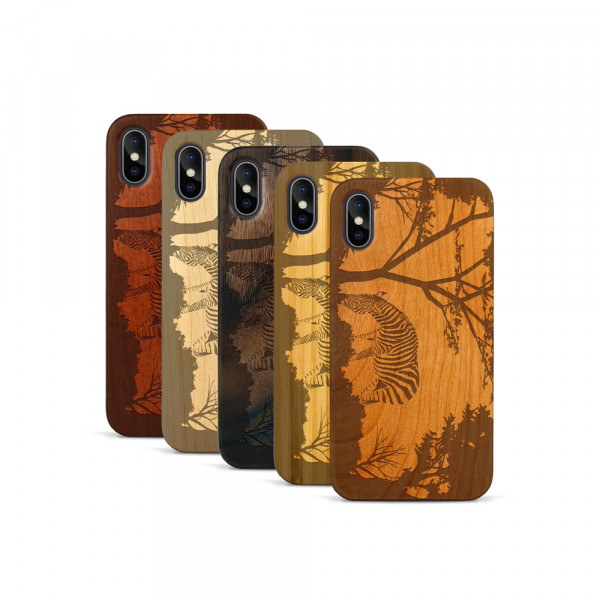 iPhone X & Xs Hülle Wildlife Zebra aus Holz