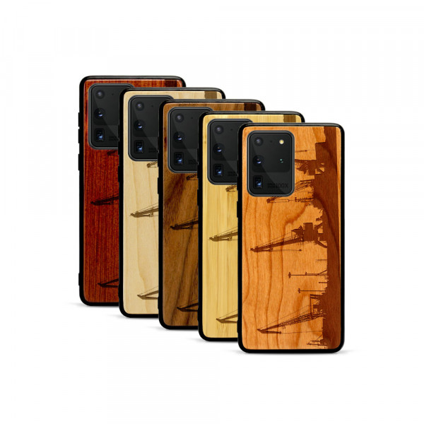 Galaxy S20 Ultra Hülle Industriedesign Kran aus Holz