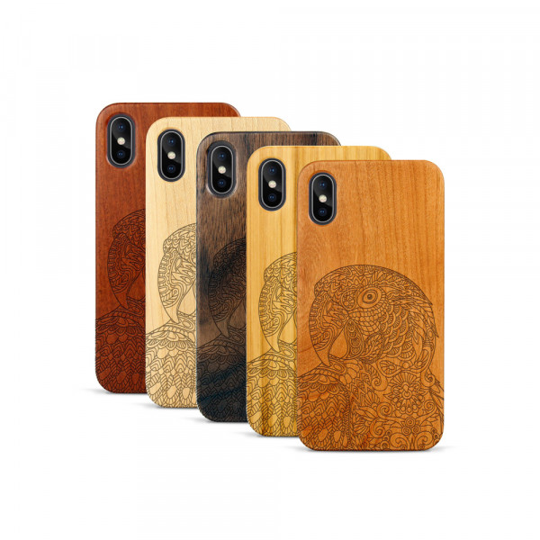 iPhone X & Xs Hülle Papagei aus Holz