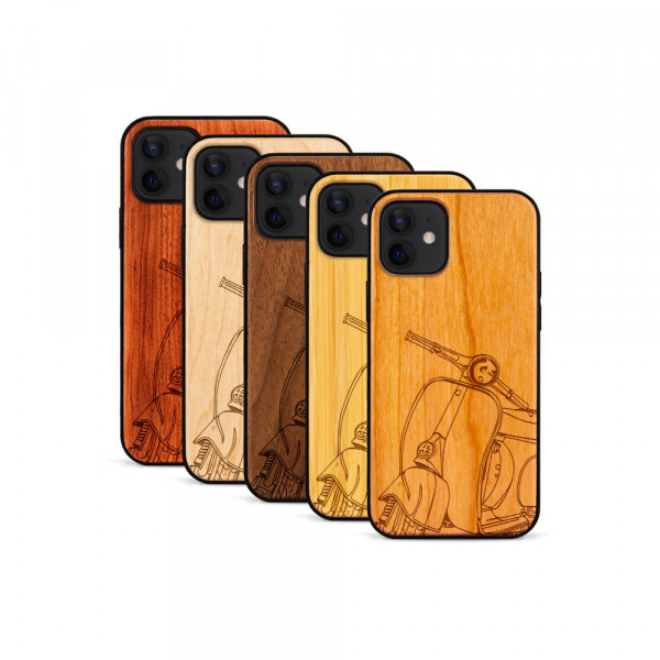 iPhone 12 Mini Hülle Moped Silhoutte aus Holz