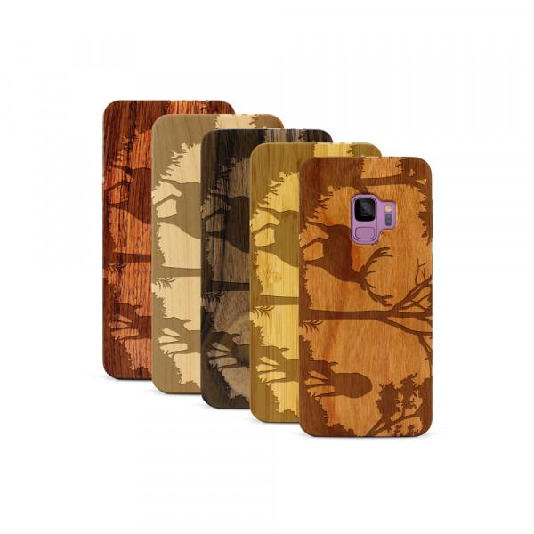 Galaxy S9 Hülle Wildlife Hirsch aus Holz