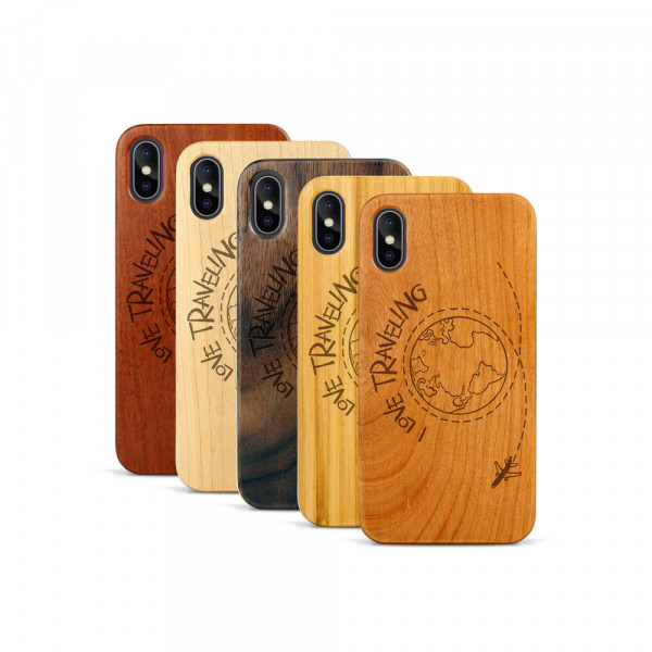 iPhone X & Xs Hülle Love Traveling aus Holz