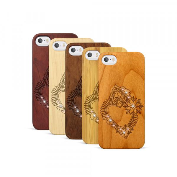 iPhone 5, 5S & SE Hülle Herzblume Swarovski® Kristalle aus Holz