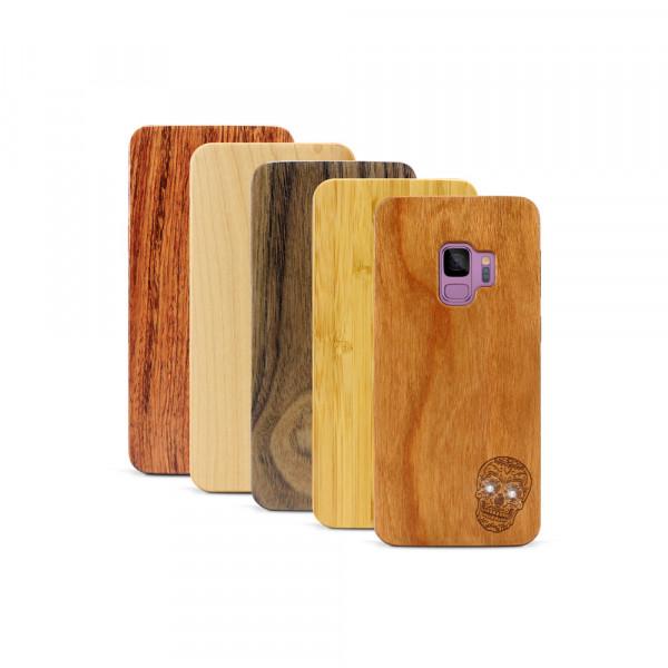 Galaxy S9 Hülle Totenkopf Swarovski® Kristalle aus Holz
