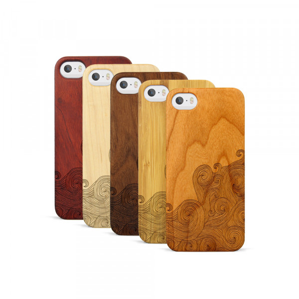 iPhone 5, 5S & SE Hülle Abstract Waves aus Holz