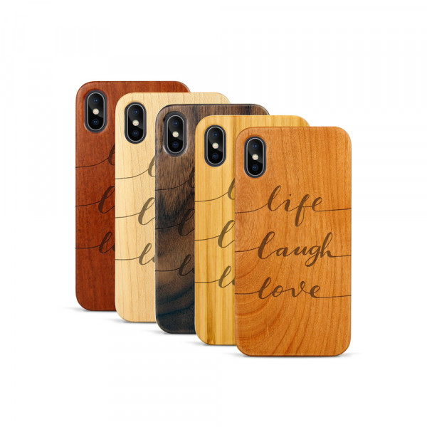 iPhone X & Xs Hülle Life Laugh Love aus Holz