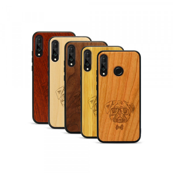 P30 lite Hülle Fashion Mops aus Holz