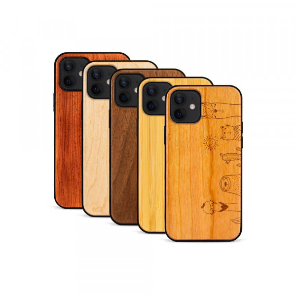 iPhone 12 & 12 Pro Hülle Animal Friends aus Holz