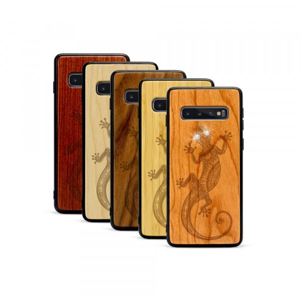 Galaxy S10+ Hülle Gecko Swarovski® Kristalle aus Holz