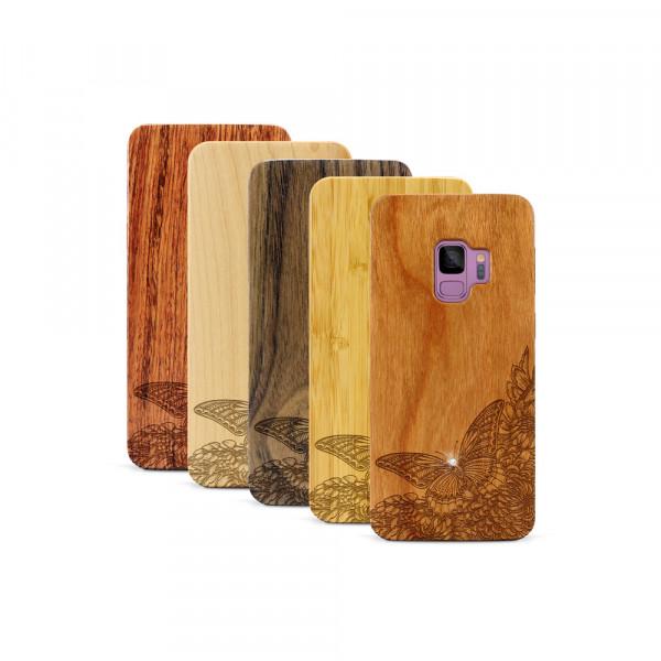 Galaxy S9 Hülle Schmetterling Swarovski® Kristalle aus Holz